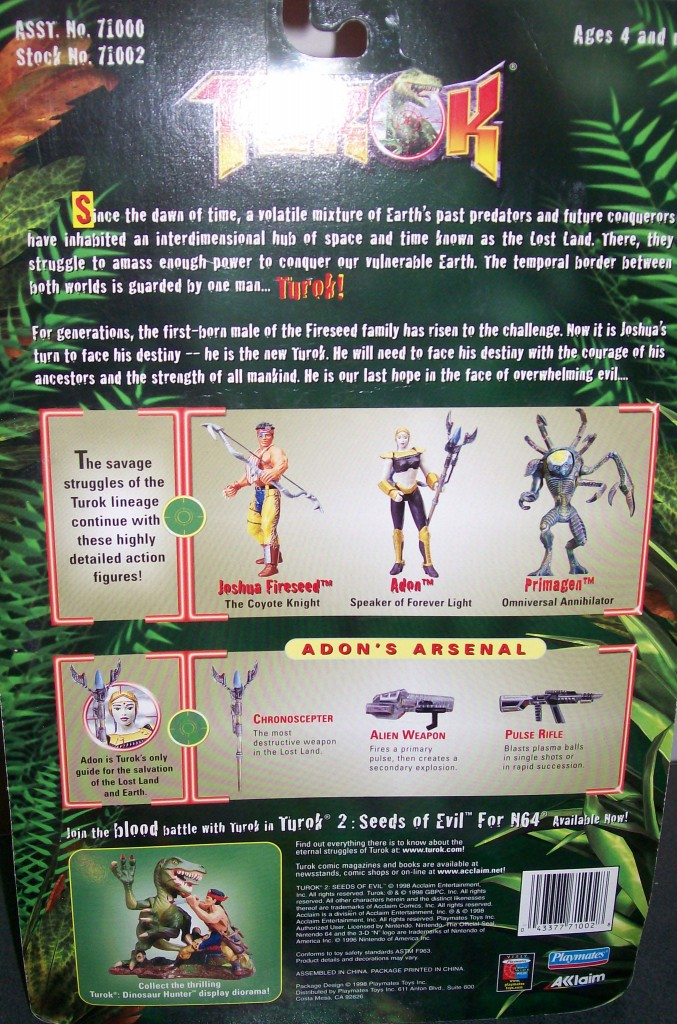 Turok Figure Adon back of box