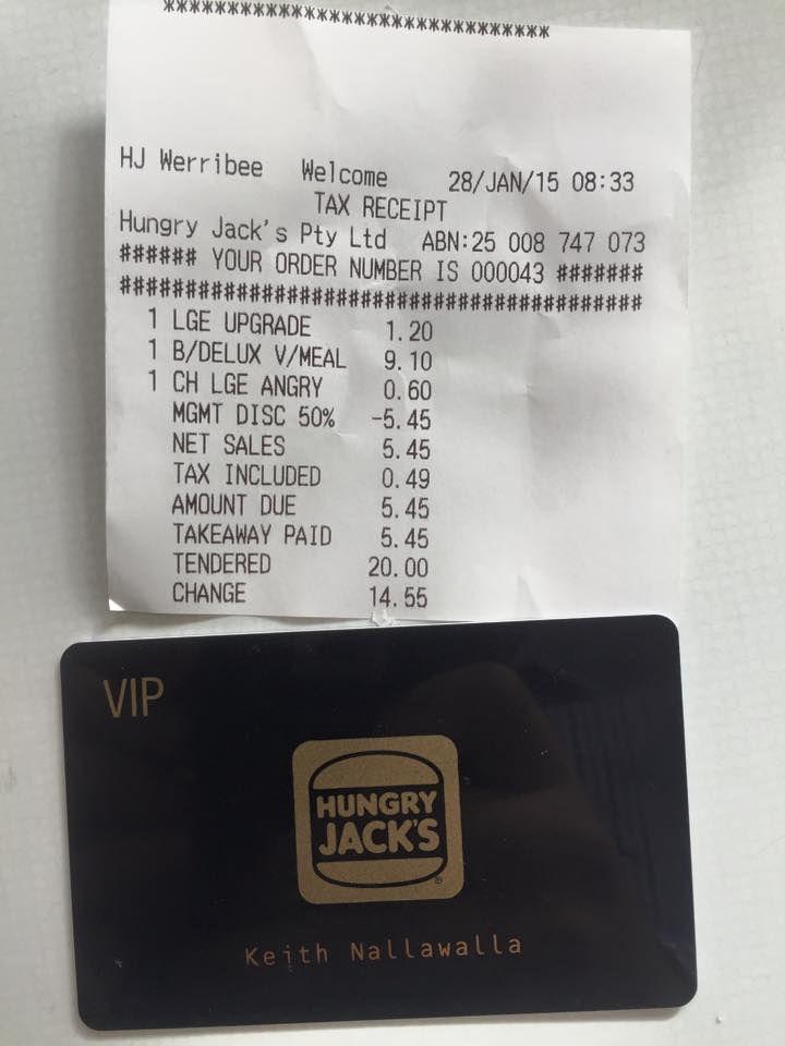 Hungry Jacks VIP card